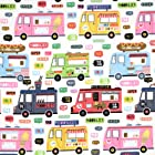 Timeless Treasures Food Lunch Trucks White, 44-inch (112cm) Wide Cotton Fabric Yardage