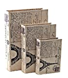 Europe Paris Beautifully Designed Wood Leather Book Box, Set of 3 Book Box, flux bookSet of three 13,10, 7 inches