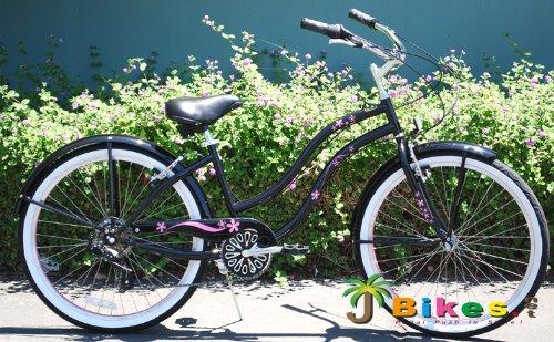 "26"" Beach Cruiser Bicycle GiGi Shimano 7-Speed Women's Bike Black with Pink Rims"