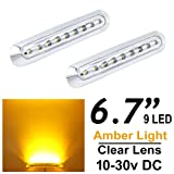2pcs LEDVILLAGE Multi-Voltage 10v - 30v DC Amber LED Clear Lens Sealed Light Clearance Universal Side Marker Light Trailer Truck with 9 LEDs + Chrome Rings (Color: Amber White)