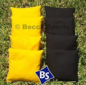 Cornhole Bags Set - 4 Black & 4 Yellow