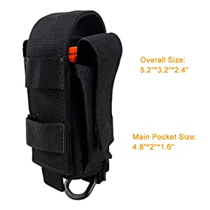 Depring Tool Holster Sheath Universal Multi Pockets Tool Organizer Heavy Duty Construction MOLLE Pouch (Black) (Color: Black)