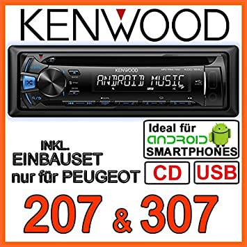 PEUGEOT 207, 307 &kenwood kDC - 164 uB autoradio cD/mP3/uSB avec kit de montage
