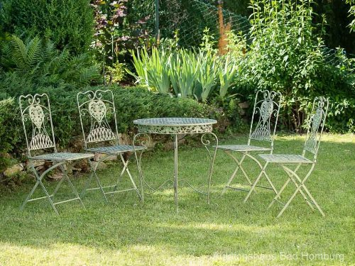 gartentisch und 4 st hle eisen antik stil gartenm bel in hellem creme gr n iron g nstig kaufen. Black Bedroom Furniture Sets. Home Design Ideas