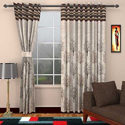Sharda Modern Jute Door Curtains (Set of 2)- 7 Feet x 4 Feet, SFP168