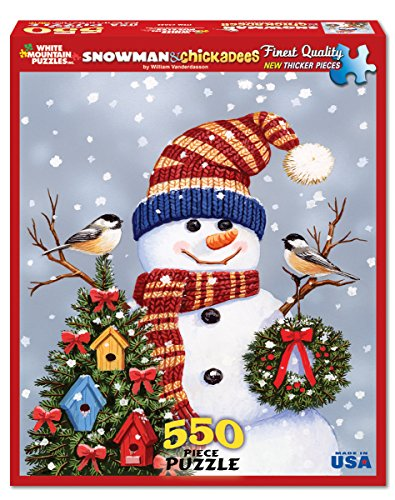 White Mountain Puzzles Snowman and Chickadees - 550 Piece Jigsaw Puzzle