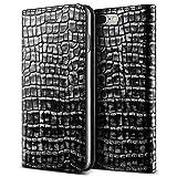 iPhone7 Plus 本革ケース VRS DESIGN Genuine Croco diary 手帳型 ブック タイプ 本革 フリップ レザー ケース for Apple iPhone 7 Plus ダークシルバー 【国内正規品】 国内正規品証明書 付