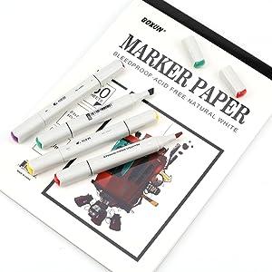 Premium 50 Sheets Sketch Marker Paper Pad, Bleedproof Artist Drawing Paper, 9 x 12 Inch (Tamaño: sketch marker paper)