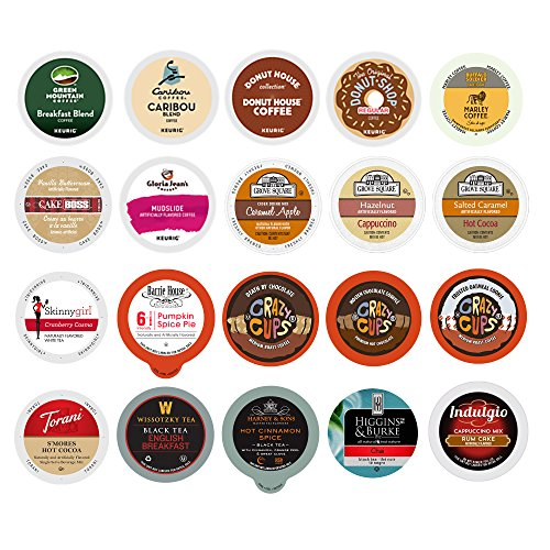 Custom Variety Pack Sampler Coffee, Cappuccino, Tea, Cider, Hot Cocoa, Single Serve Cups for Keurig K Cup Brewer, 20 count