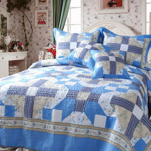 Dada Bedding Dxj103110 Abstract Star Cotton Patchwork 5-Piece Quilt Set, King, Blue front-858948