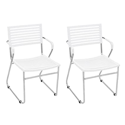 White Stackable Arm Chair 12 pcs