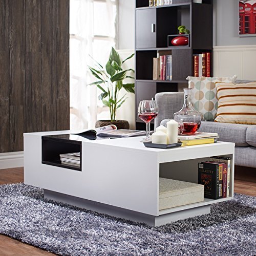 Furniture of America Kassalie Modern Two-tone White/Black Glass Top Coffee Table by Furniture of America