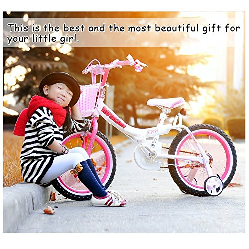 Royalbaby Jenny Princess Pink Girl's Bike with Training Wheels and Basket, Perfect Gift for Kids, 12-14-16 inch wheels 2
