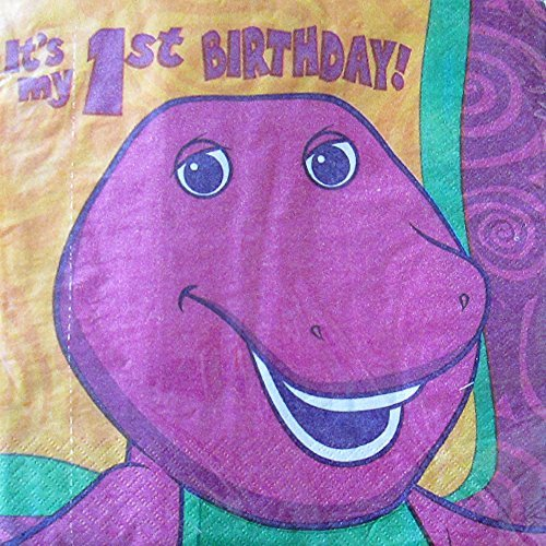Barney Vintage 2002 1st Birthday Lunch Napkins (16ct) - 1