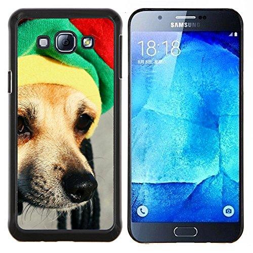 Rasta Mütze Dog Chihuahua Muzzle Schnauze - Aluminum & Hartplastik Telefonkasten - Schwarz - Samsung Galaxy A8 / SM-A800