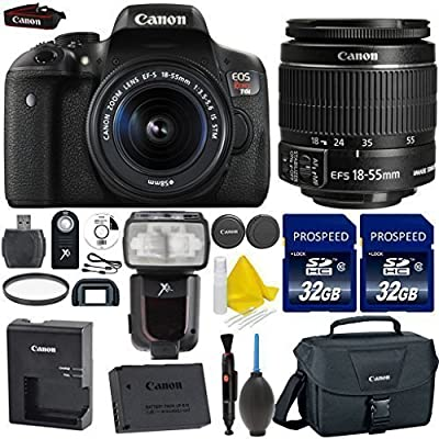Canon EOS Rebel T6i 24.2MP WiFi Enabled Digital SLR Camera + Canon EF-S 18-55mm IS STM + 2pc High Speed 32GB Memory Cards + UV Filter + Canon Case + Cleaning Kit + 9pc Accessory Kit