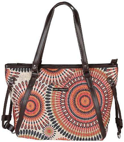 Lino Perros Women's Handbag (Brown and Beige) (beige\/sand\/tan)