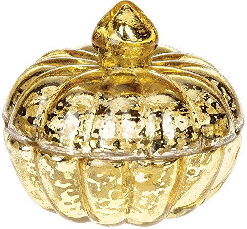 Luna Bazaar Pumpkin Design Small Mercury Glass Trinket Box (3-Inch, Gold)