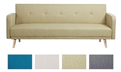 CLP Klapp-Sofa / Schlafsofa EBBA, Stoffbezug, ca. 200 x 80 cm, stilvolle Zierknöpfe, dicke Polsterung, Couch mit Liegefunktion, FARBWAHL Grun