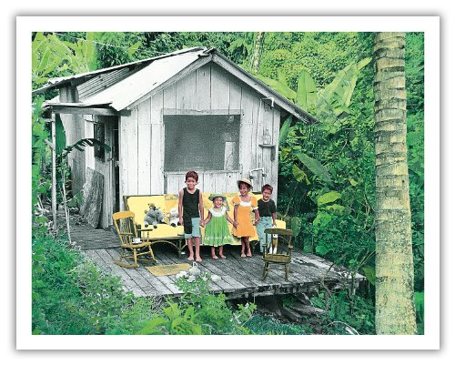 Maile'S Tea Party - Hawaiian Children (Keiki) Playing At Their Jungle Home (Hale) - Original Hand Colored Photograph By Deanna Benatovich - Hawaiian Fine Art Print - 11In X 14In