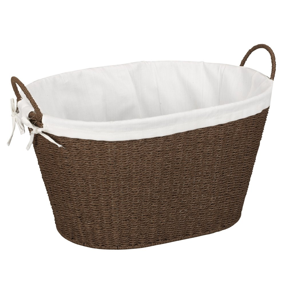 Household Essentials Lined Paper Rope Laundry Basket Dark