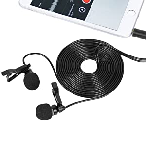 TONOR 55 inch Lavalier Mic Lapel Microphone Double Headed Recording Clip On Mic Mini Microphone For IPhone IPad IPod Samsung Android and Windows Smartphones