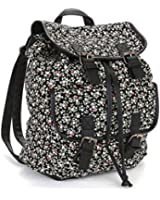 Twisted Women's EVELYN Canvas Double Pocket Snap Casual Backpack with Drawstring Closure