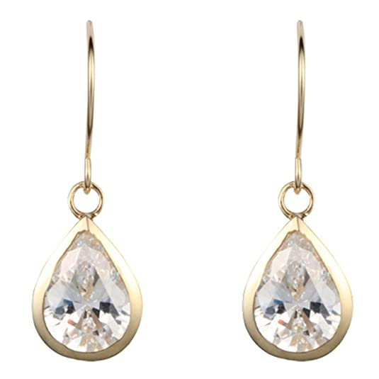 9ct yellow gold white cubic zirconia pearshape drop earring