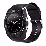 ZOMTOP V8 Sport Bluetooth Round Dial Wrist Smart Watch Camera SIM TF Slot for IOS Android Fashion(black) (Color: V8-Black)