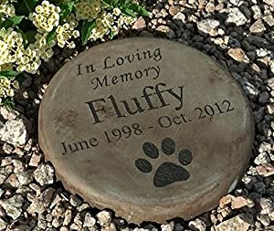 "Personalized Engraved Pet Memorial Step Stone 7.5"" Diameter 'in Loving Memory"
