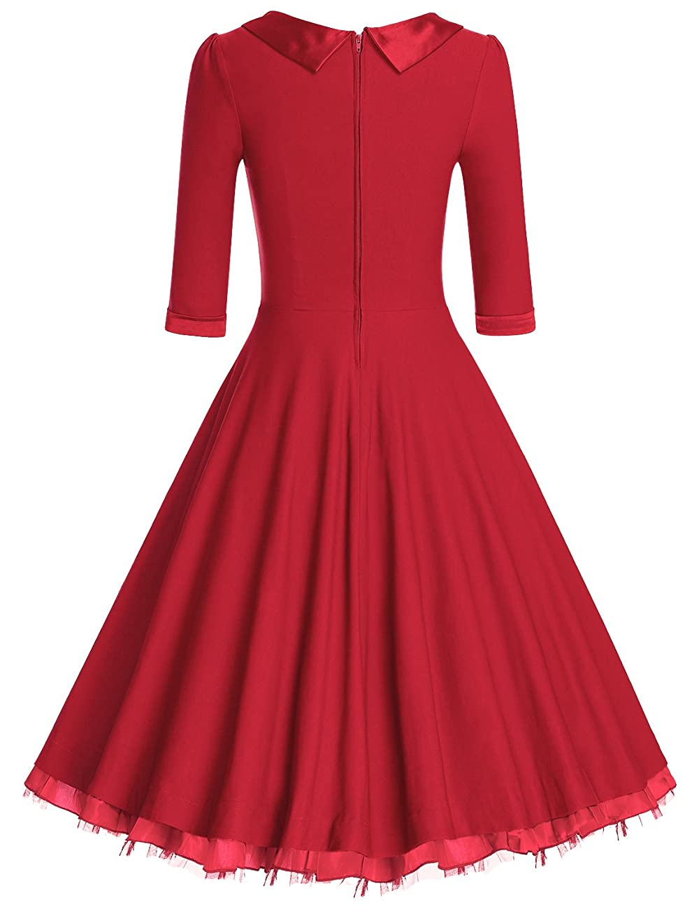MUXXN Women's 1950s Vintage 3/4 Sleeve Rockabilly Swing Dress 1