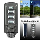 ECO LLC 60W LED Solar Powered Wall Street Light PIR Motion Outdoor Garden Lamp (Color: Grey, Tamaño: 60W)