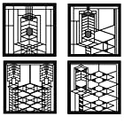 CoasterStone FWAS700 Metal Insert Absorbent Coasters, 4-1/4-Inch, Frank Lloyd Wright Robie House, Set of 4