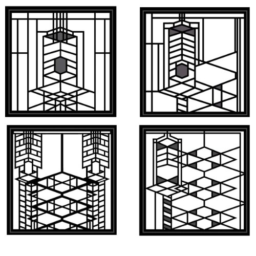 "CoasterStone FWAS700 Metal Insert Absorbent Coasters, 4-1/4-Inch, ""Frank Lloyd Wright Robie House"", Set of 4"