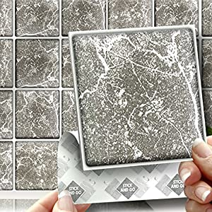 Grey marble box of 18 tiles 4x4 solid peel for Solid color peel and stick wallpaper