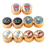 TIANCI FBYJS 5 Pairs Organic Wood Double Flared Ear Tunnels Expander Plugs Stretcher in 5 Style (00g=10mm) (Color: 00g=10mm)