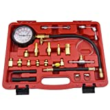 Bang4buck 20 Pieces 0-140 PSI Fuel Injection Pressure Tester Kit with Case for Gasoline-driven Car, Truck, RV, SUV & ATV