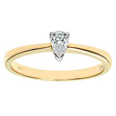Naava 9ct Yellow Gold Diamond Single Stone Pear Shaped Ladies Ring