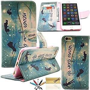 iPhone 6 6S Case, Dteck(TM) Fashion Cartoon Cute Pattern Portable Premium PU Leather Magnetic Closure Folio Flip Stand Case [Card & Money Slots] for Apple iPhone 6 6S 4.7 inches (Never Grow Up)