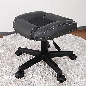 オットマン単品 メッシュ使用 ブラック リクライニングチェア・オフィスチェアに最適