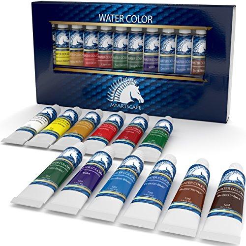 Watercolor Paint Set - Artist Quality Paints - 12 x 12ml Vibrant Colors - Rich Pigments - Professional Supplies by MyArtscape (12 x 12ml)