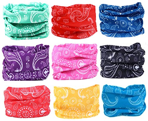 Kalily Pack of 9pcs PAISLEY UV Head Band Bandana Protective Multi-use Seamless Breathable Neck and Head Tube Gaiter (Motorcycle Accessories For Women compare prices)