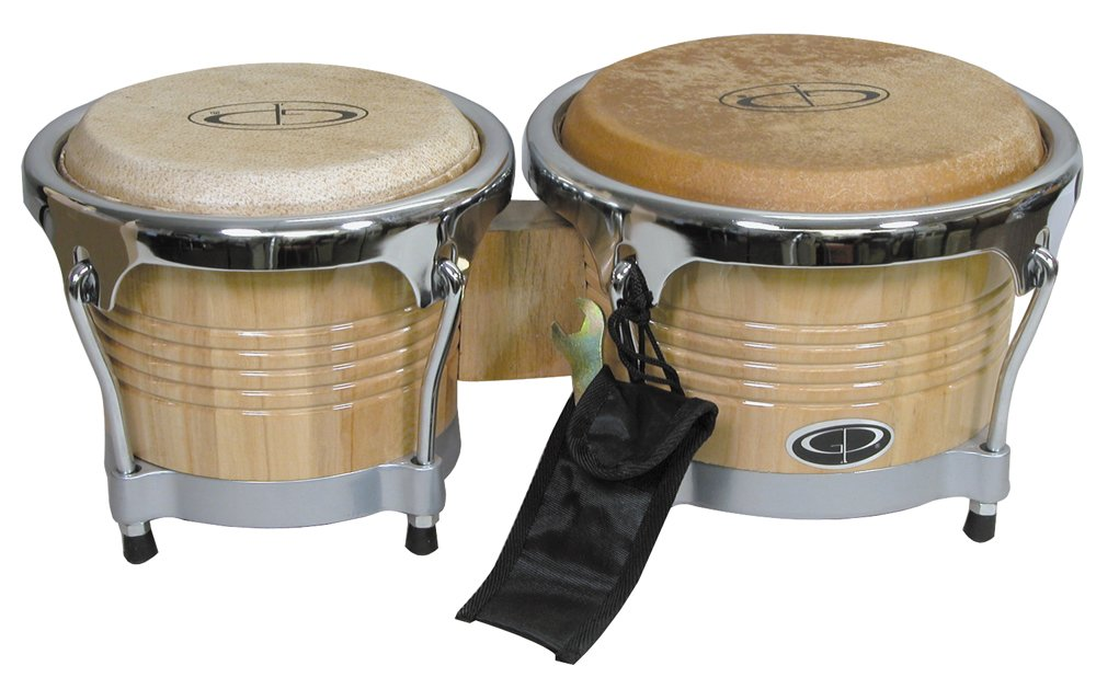 GP Percussion B10 Pro-Series Tunable Bongos 6.5 & 8 Inch (Clear Finish, Hickory)