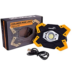 SUNZONE LED Work Light 20 Watt 1200 Lumens FloodLight Outdoor Camping Fishing Spotlights Searchlight Built-in Rechargeable Lithium Batteries Lamp with USB Ports (6006 Yellow) (Color: 20 Watt Yellow)