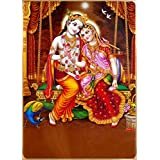 DollsofIndia Radha Krishna - Metallic Paper Poster - 13 X 9.25 Inches - Unframed