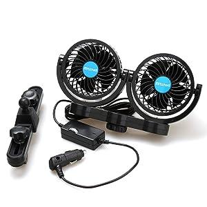 Poraxy Car Fans,12V Electric Auto Cooling Fan, Headrest 360 Degree