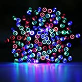LE® Solar Powered LED Fairy String Lights, 100 LEDs 55 ft/17m, Waterproof, RGB, Multi-color, Christmas Lights with Light Sensor, Ambiance Lighting, Outdoor and Indoor Use, Wedding, Party, Halloween Lights Decoration