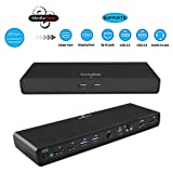 MediaGear USB C Docking Station w/ 45W Laptop Power Delivery: Dual HDMI+DisplayPort, USB 3.0/2.0, Gigabit Ethernet, Combo Audio Jack, Bundle: 65W AC Adapter, C-C Cable, C-A Dongle for Mac & Windows OS (Color: black, Tamaño: 65W)