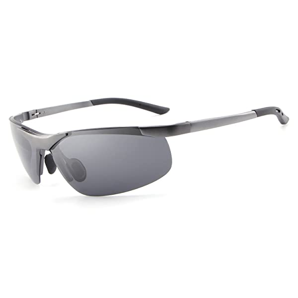 560f723932 HDCRAFTER Men s Outdoor Sports Polarized Sunglasses Semi Frame Driver  Glasses (Color  Grey)