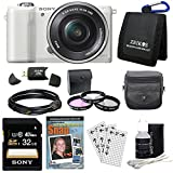 Sony a5000 Alpha a5000 ILCE-5000L/W ILCE5000LW ILCE5000 20.1 MP SLR Camera(White) Bundle with High Speed 32GB Card, 3 Piece filter kit, DVD SLR Tutorial, Deluxe Case and More!